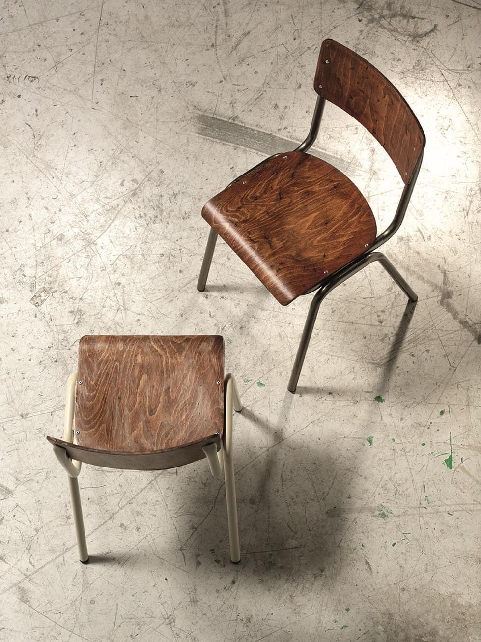 2.06.0, Sedia in metallo con seduta e schienale in legno, per chiese
