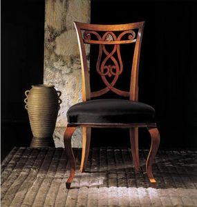249S, Sedia legno con schienale decorato