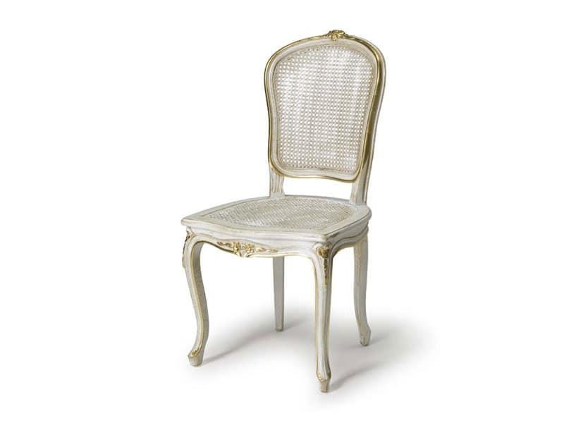 Art.108 sedia, Sedia con sedile e schienale in paglia, stile Luigi XV