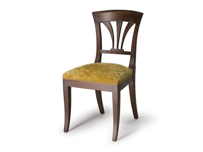 Art.133 sedia, Sedia con schienale in legno, stile classico
