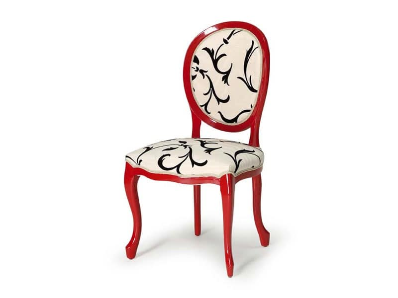 Art.417 sedia, Sedia in legno lucido, seduta e schienale imbottiti