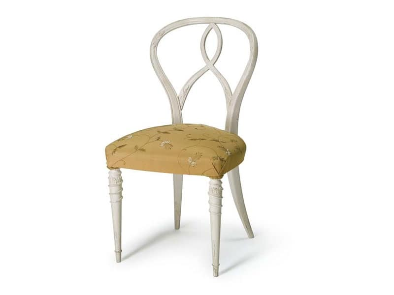Art.492 sedia, Sedia in legno di noce grezzo, seduta imbottita