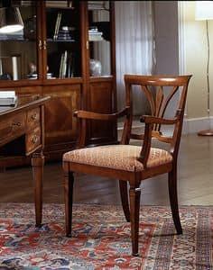 D 602, Sedia in ciliegio, con braccioli e seduta imbottita