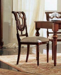 Gardenia sedia, Sedia in noce con schienale traforato, in stile classico
