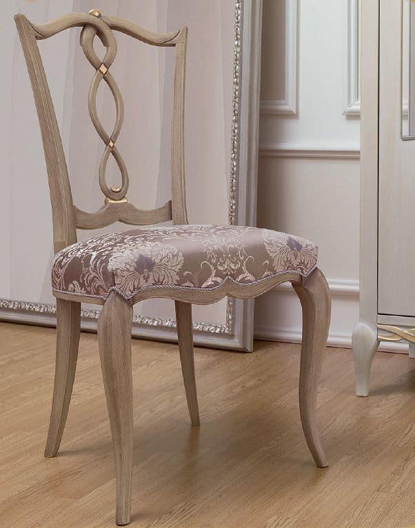 Sedia in stile classico, in legno con seduta imbottita ...
