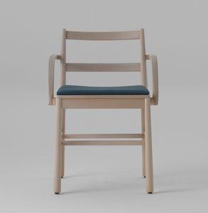 ART. 0021-IMB-AR JULIE, Sedia in legno con seduta imbottita