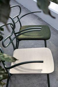 ART. 0048-MET GENOA, Sedia in metallo con braccioli, seduta in legno
