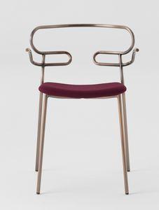 ART. 0048-MET-IM GENOA, Sedia in metallo con braccioli, seduta imbottita
