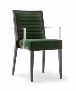 GINEVRA SIDE CHAIR 031 SB F, Sedia in legno con braccioli in metallo
