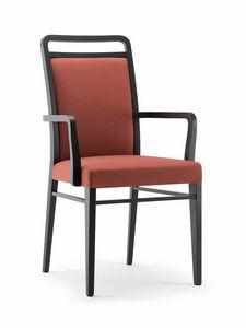 HAVANA SIDE CHAIR WITH ARMS 020 SB, Sedia in legno imbottita, con braccioli