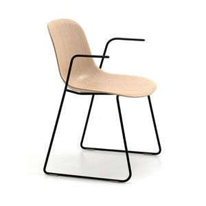 M�ni Wood SL AR, Sedia con braccioli e base a slitta