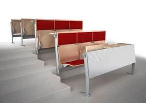 EVOLUTION, Sistema di sedute e tavoli, con pannelli fonoassorbenti, per aule e sale conferenza