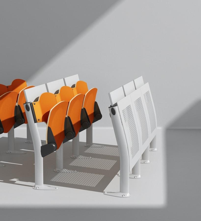 OMNIA, Sistema polifunzionale di sedute e piani di scrittura, ingombri contenuti, per sale conferenza e aule universitarie