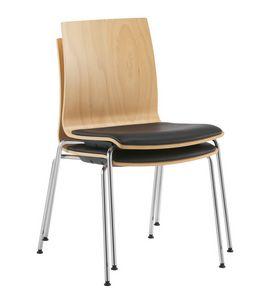 Q2 W, Sedia impilabile, con scocca in legno e seduta imbottita