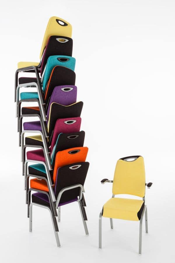 Inicio 09/2HA, Sedia colorata per conferenza, agganciabile ed impilabile