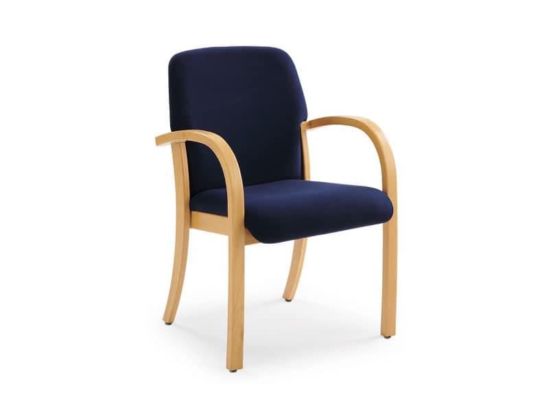 Kali 68501, Poltroncina in legno con seduta e schienale imbottiti