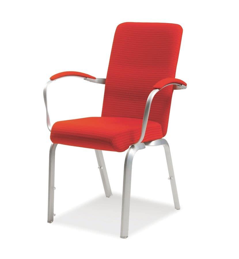 Orvia 12/3A, Comoda sedia imbottita per conferenze, ignifuga, impilabile