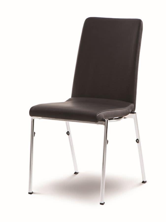 Evosa Congress 08/4, Sedia estremamente comoda in acciaio, sedile sagomato, per conferenze e riunioni