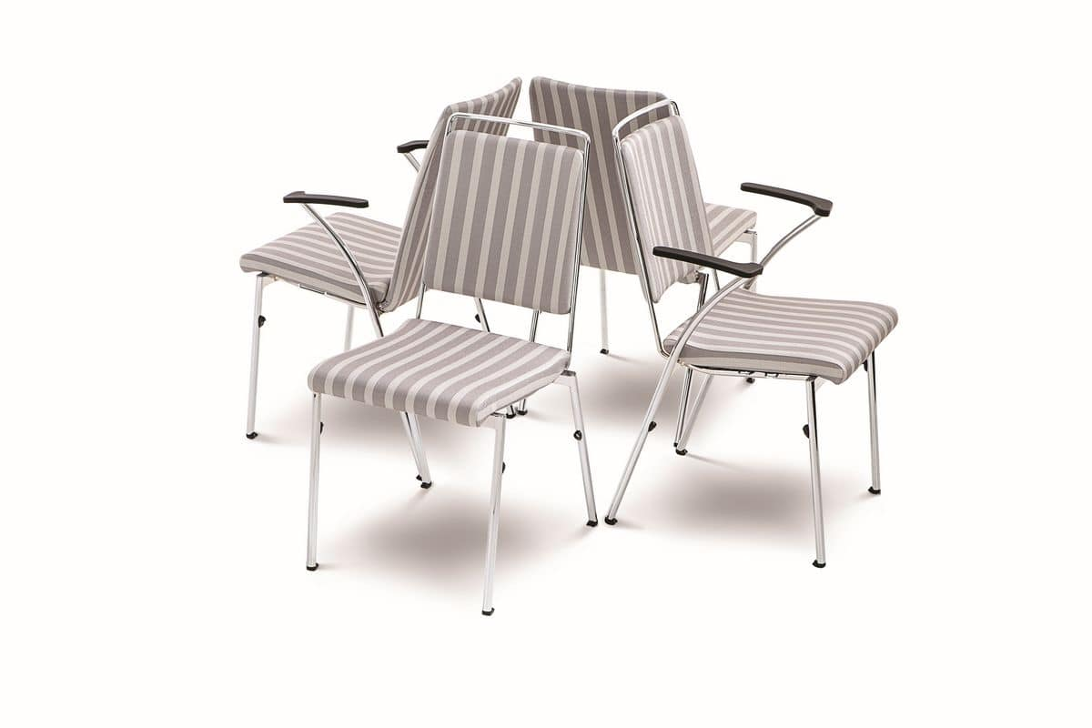 Evosa Congress 08/5, Sedia impilabile in acciaio cromato, sedile ignifugo, schienale anatomico, per sale conferenze