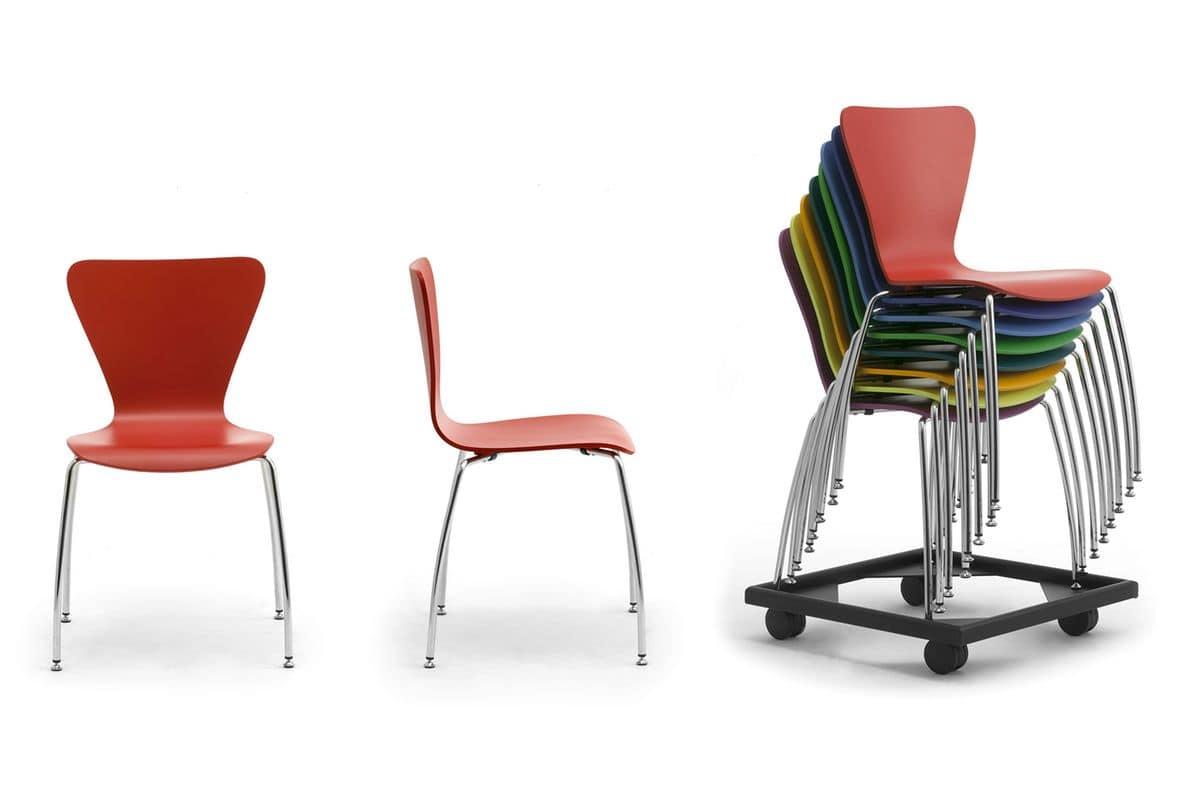Gardena 0653LE, Sedia colorata in metallo e legno, per uffici e sale d'attesa