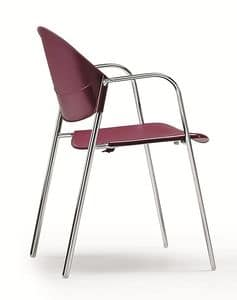 DELFI 085, Sedia impilabile con seduta e schienale in copolimero