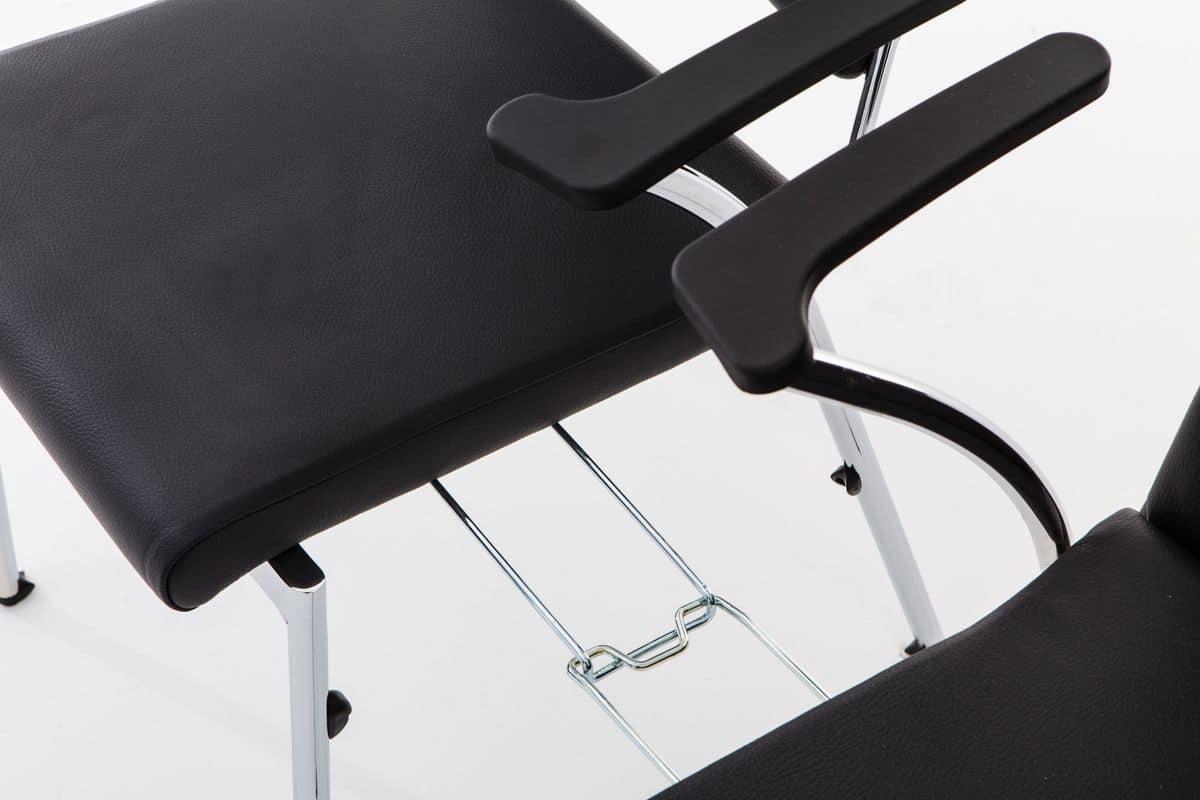 Evosa Congress 08/3A, Sedia con base in metallo cromato, seduta imbottita, con braccioli in poliuretano, per conferenze, riunioni, banchetti