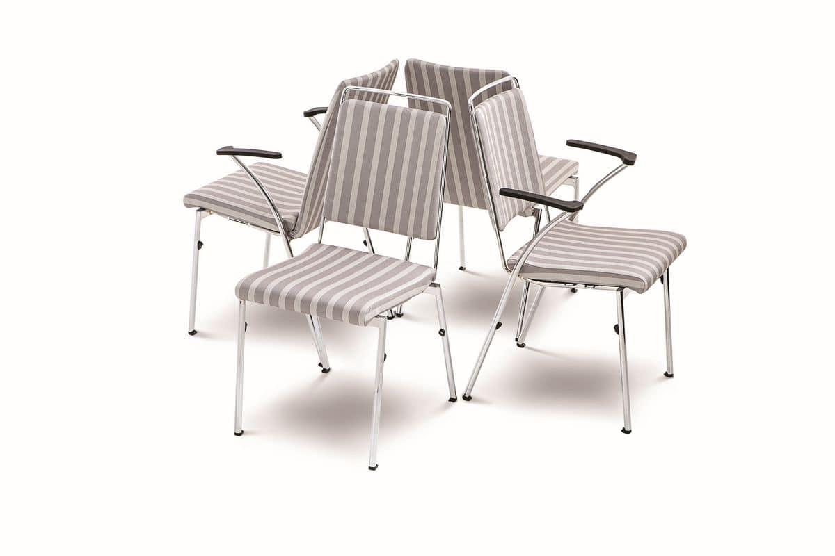 Evosa Congress 08/5A, Sedia impilabile in metallo, prodotta nella CE, schienale flessibile, per conferenze e riunioni