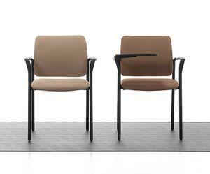 Urban Soft 02, Sedia impilabile imbottita con braccioli, per sala meeting