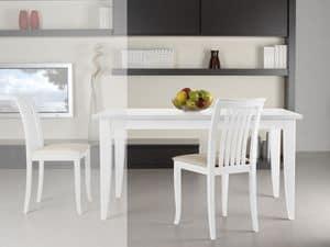 Complementi Sedia 08, Sedia in legno con seduta imbottita e schienale a doghe verticali