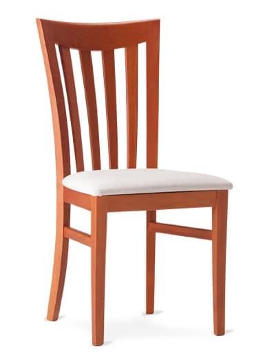 DEMETRA, Sedia in legno con schienale a doghe verticali
