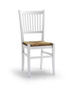 TIFFANY, Sedia con seduta in paglia e schienale a motivo verticale