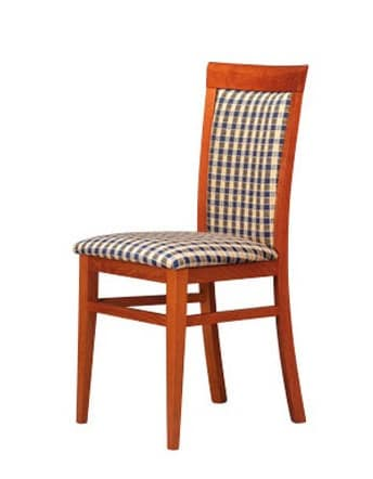 312, Sedia in legno imbottita, semplice e robusta, per bar