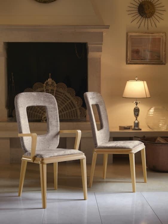 Sedia in legno imbottita, per sale da pranzo   IDFdesign