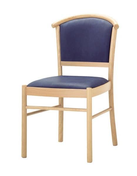 C10, Sedia in legno, seduta e schienale imbottiti, per uso contract