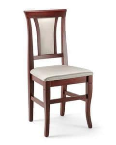 Cleo, Sedia da pranzo in legno di faggio,  imbottita, elegante
