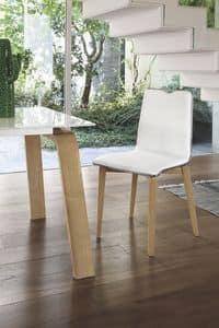 LOSANNA SE05, Sedia con struttura in legno massello, seduta e schienale imbottiti, per ambienti moderni