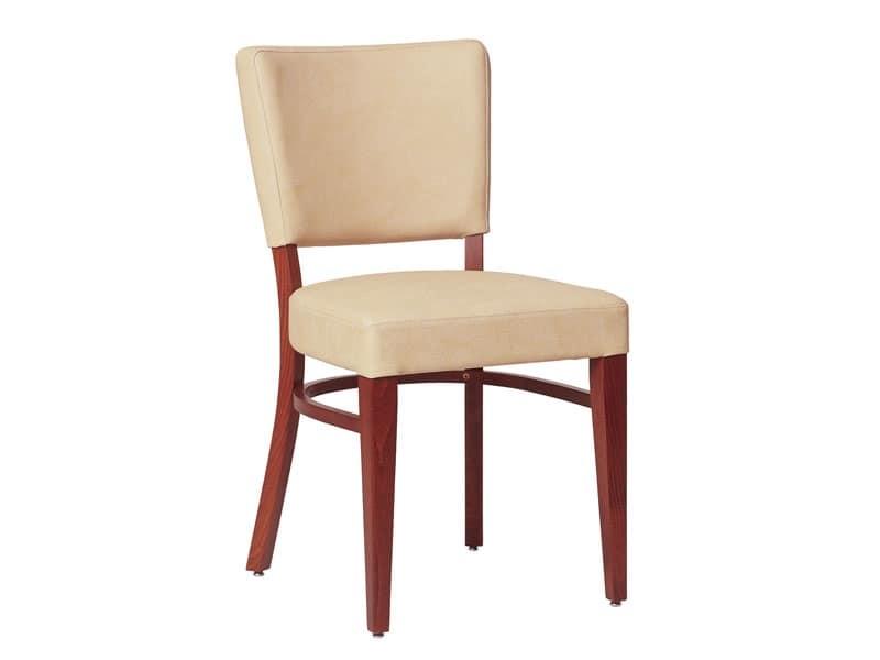 Marsiglia/S, Sedia per soggiorno in legno, con seduta e schienale imbottiti