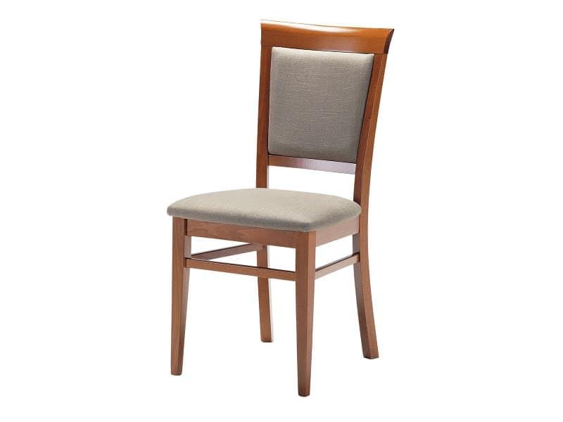 Sirai, Sedia in legno con seduta e schienale imbottiti, per soggiorno
