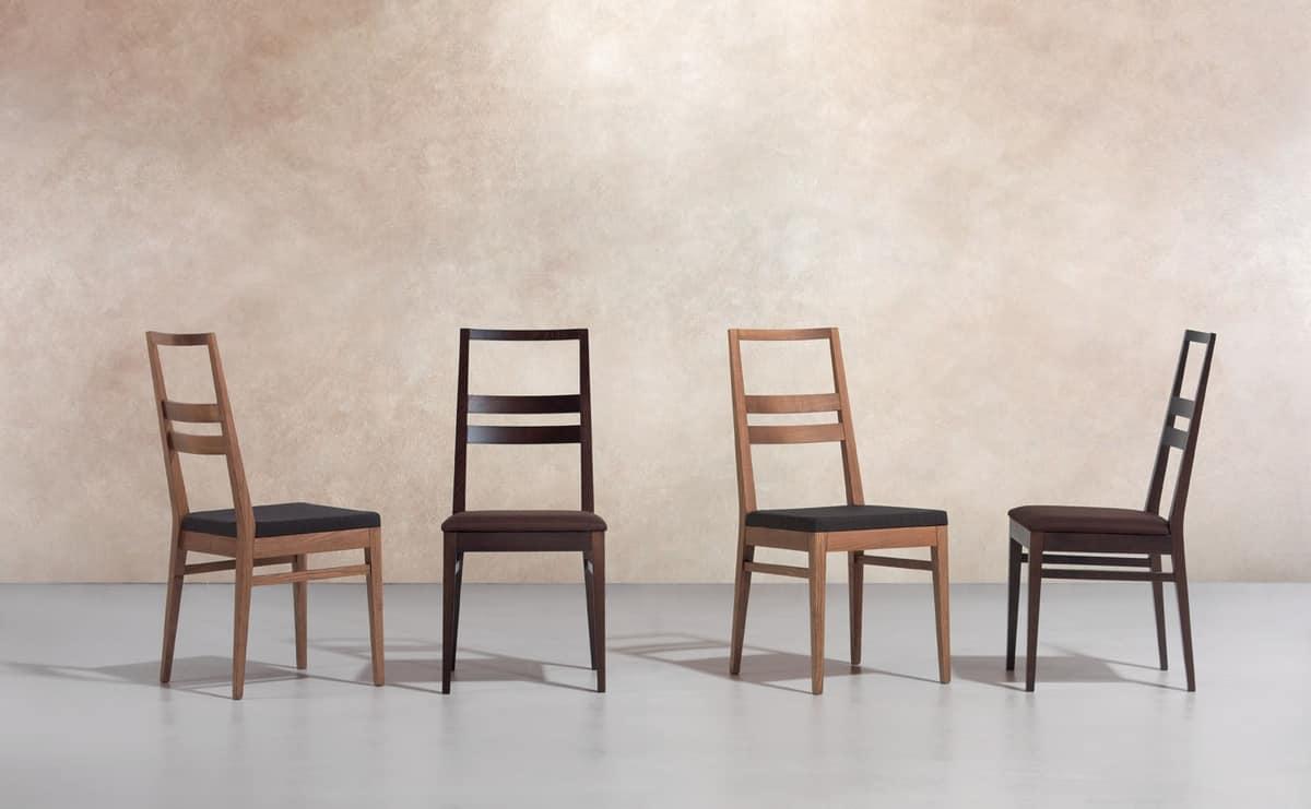 DENISE, Sedia lineare in legno, seduta imbottita