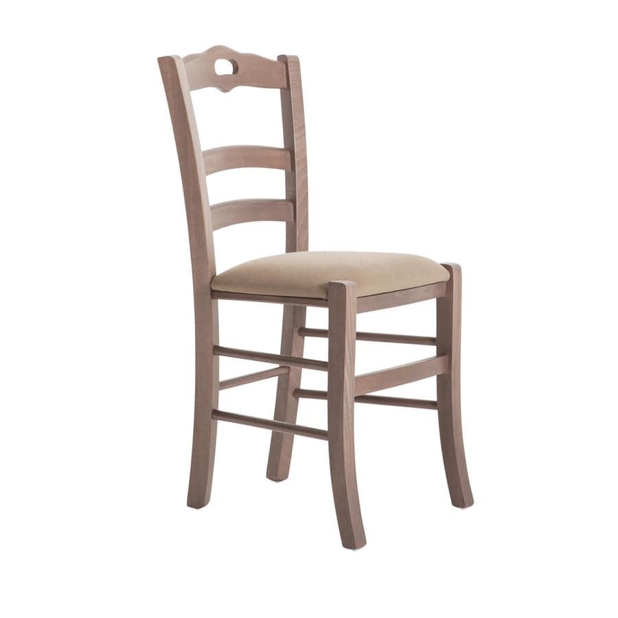 RP42C, Sedia in legno, con seduta personalizzabile