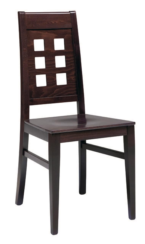 SE 490 / B, Sedia in legno, seduta imbottita, schienale con fori