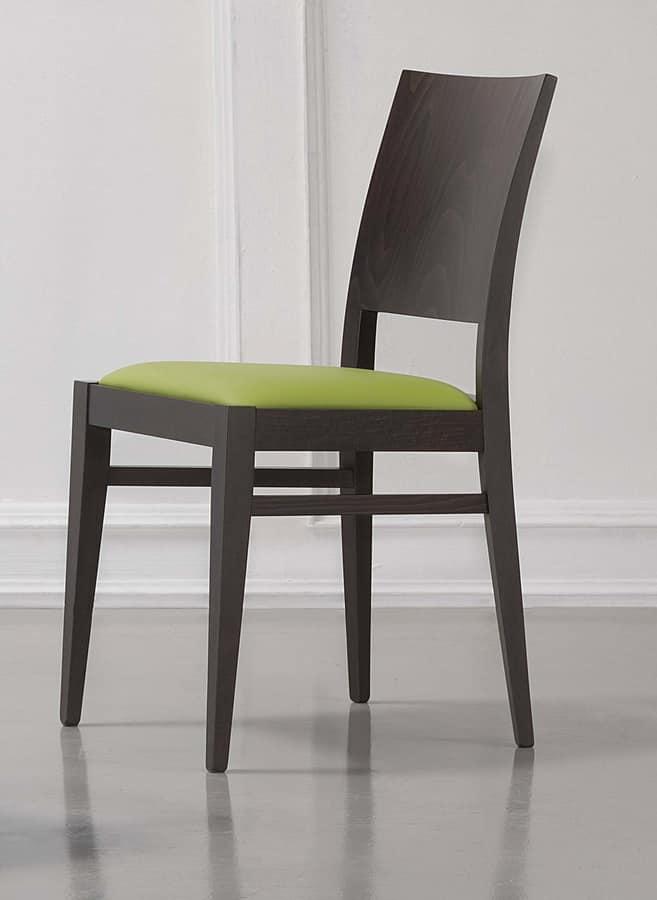 330, Elegante sedia con seduta imbottita, per sala colazioni