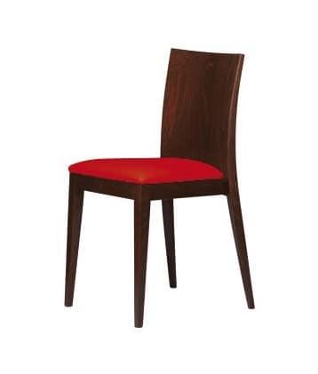 M16, Sedia in legno, seduta imbottita, per bar e ristoranti