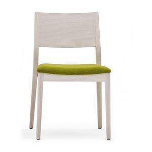 Sintesi 01511, Sedia in legno massiccio, seduta imbottita, stile moderno