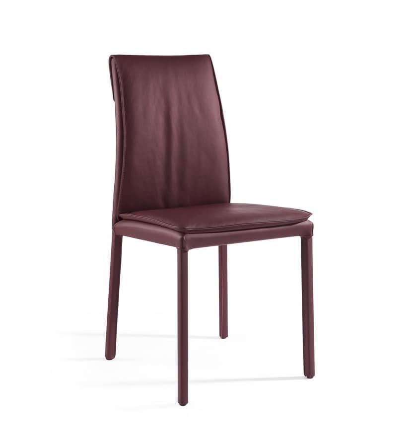 Agorà, Sedia con cuscino imbottito, rivestimento personalizzabile