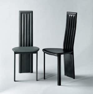 Alfa, Sedia da pranzo, con gambe posteriori integrate nello schienale, rivestita in cuoio