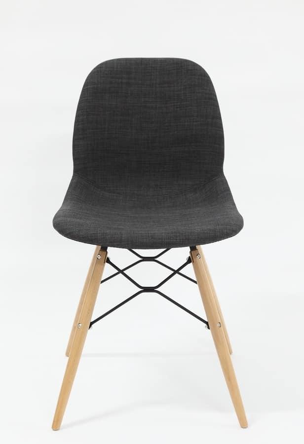 Art. 289 Shell Dress, Sedia imbottita, con gambe in legno di faggio naturale