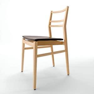 Gi� R/SU, Sedia design, seduta imbottita, schienale a doghe orrizzontali
