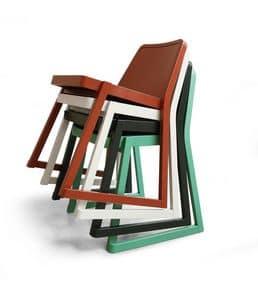 ART. 0040-LE ROXANNE, Elegante sedia impilabile in legno di faggio