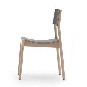 Maki 03714 - 03715, Sedia in legno con seduta curvata